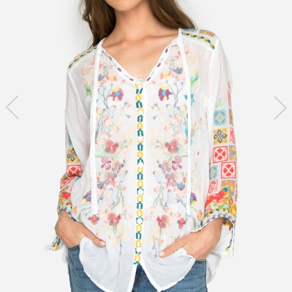 30b98a2729d7 NWT JOHNNY WAS EMBROIDERED TUNIC SIZE M